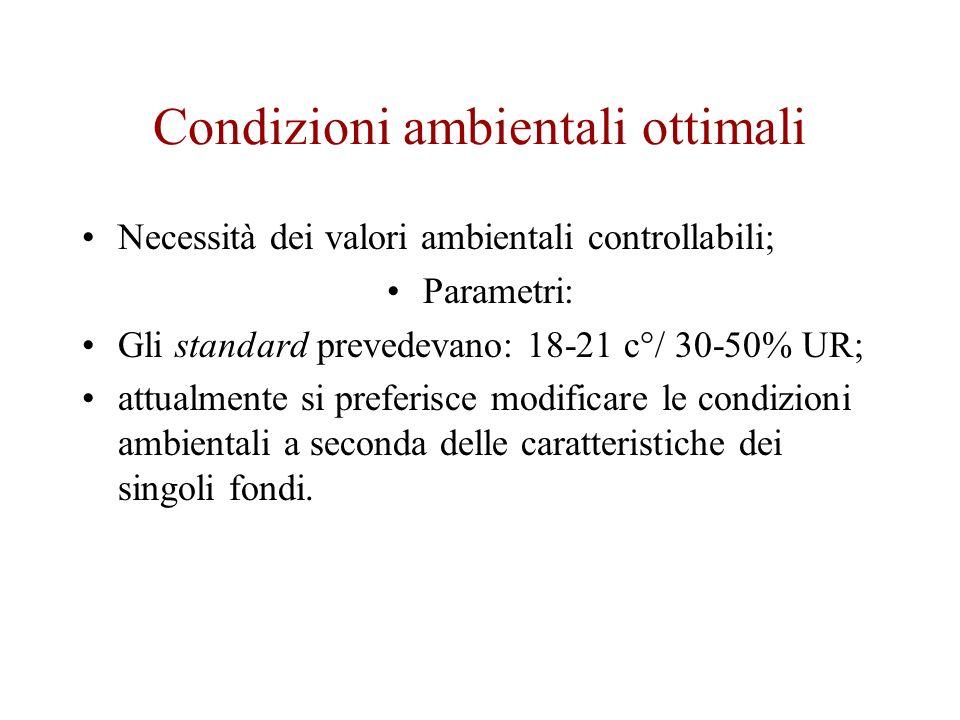 Condizioni ambientali ottimali Necessità dei valori ambientali controllabili; Parametri: Gli standard prevedevano: 18-21 c°/ 30-50% UR; attualmente si