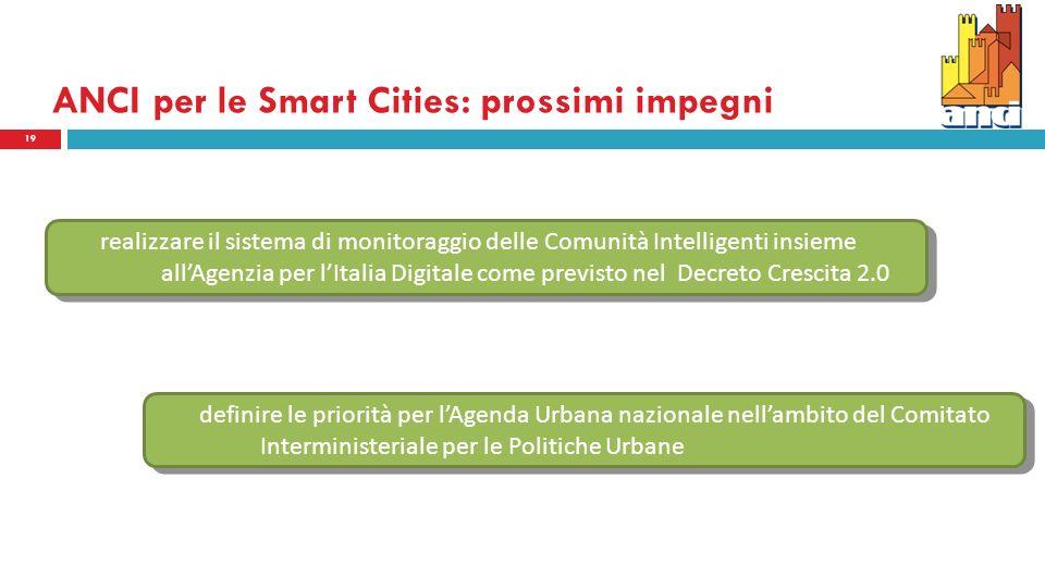 ANCI per le Smart Cities: prossimi impegni 19 realizzare il sistema di monitoraggio delle Comunità Intelligenti insieme allAgenzia per lItalia Digitale come previsto nel Decreto Crescita 2.0 definire le priorità per lAgenda Urbana nazionale nellambito del Comitato Interministeriale per le Politiche Urbane