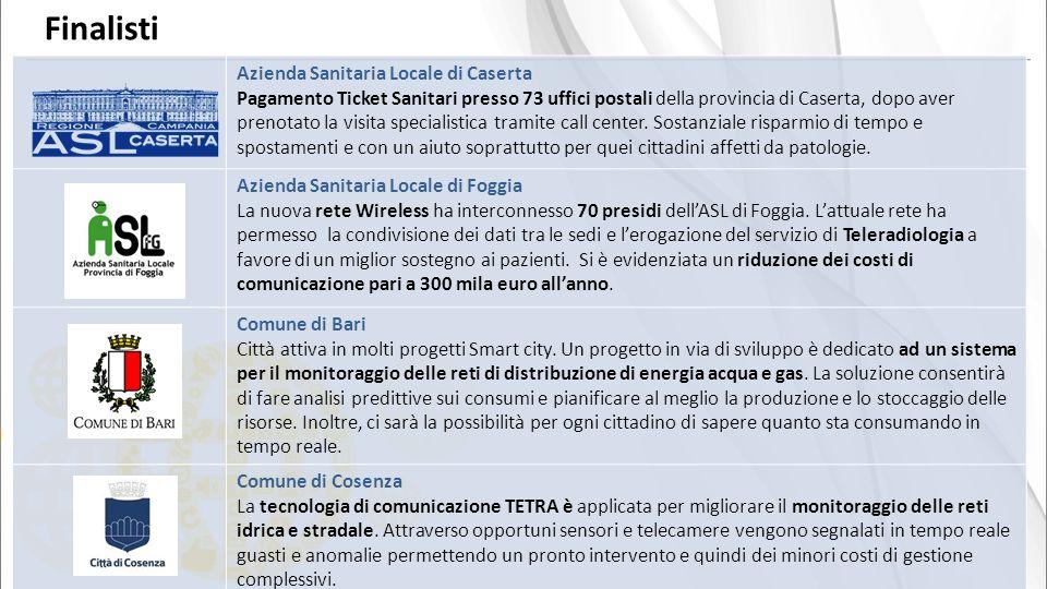 Finalisti Azienda Sanitaria Locale di Caserta Pagamento Ticket Sanitari presso 73 uffici postali della provincia di Caserta, dopo aver prenotato la visita specialistica tramite call center.