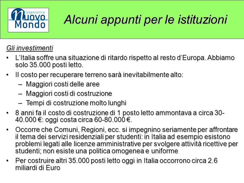 Alcuni appunti per le istituzioni Gli investimenti LItalia soffre una situazione di ritardo rispetto al resto dEuropa.
