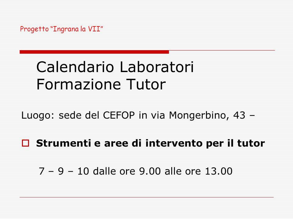 Calendario Laboratori Formazione Tutor Luogo: sede del CEFOP in via Mongerbino, 43 – Strumenti e aree di intervento per il tutor 7 – 9 – 10 dalle ore 9.00 alle ore 13.00 Progetto Ingrana la VII
