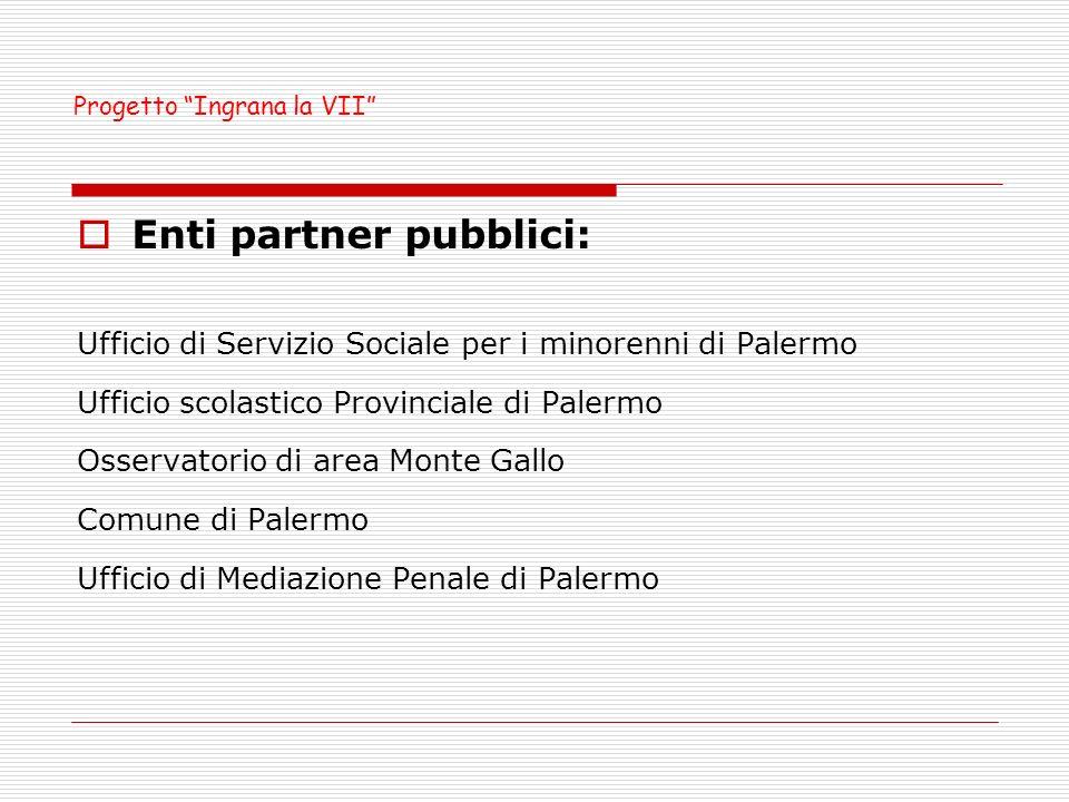 Enti partner pubblici: Ufficio di Servizio Sociale per i minorenni di Palermo Ufficio scolastico Provinciale di Palermo Osservatorio di area Monte Gallo Comune di Palermo Ufficio di Mediazione Penale di Palermo Progetto Ingrana la VII