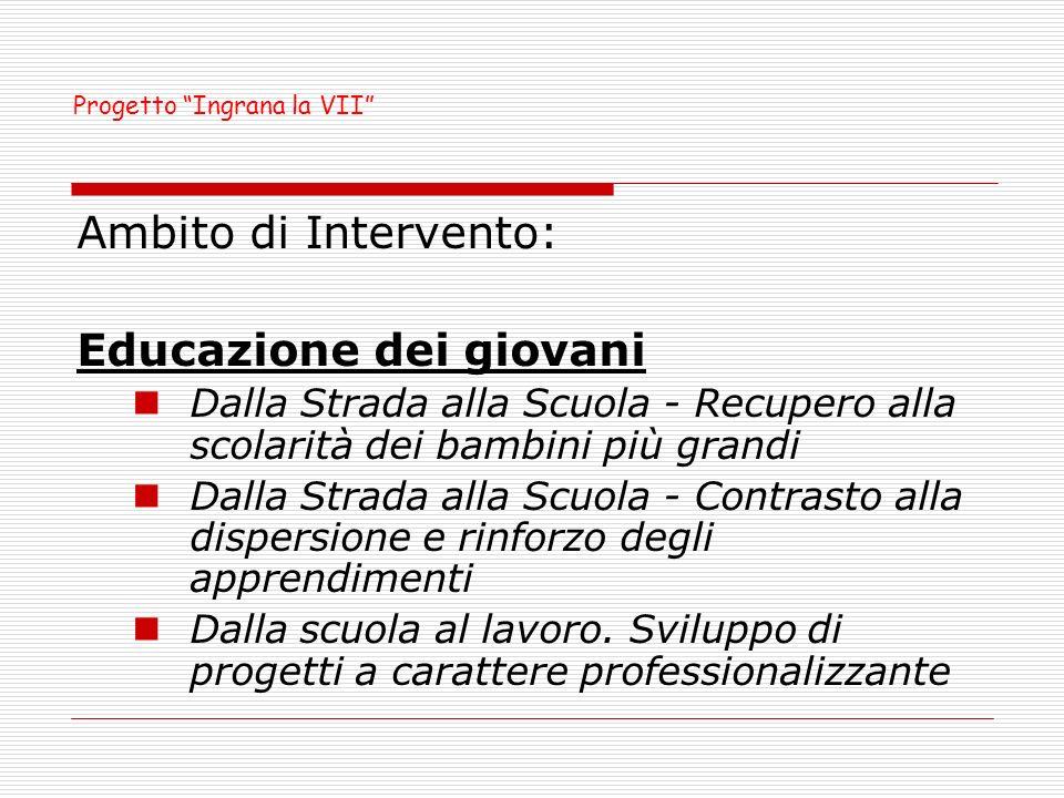 Ambito territoriale del progetto: VII circoscrizione del Comune di Palermo Durata: 18 mesi – 2 anni scolastici Contributo: 350.000,00 Progetto Ingrana la VII