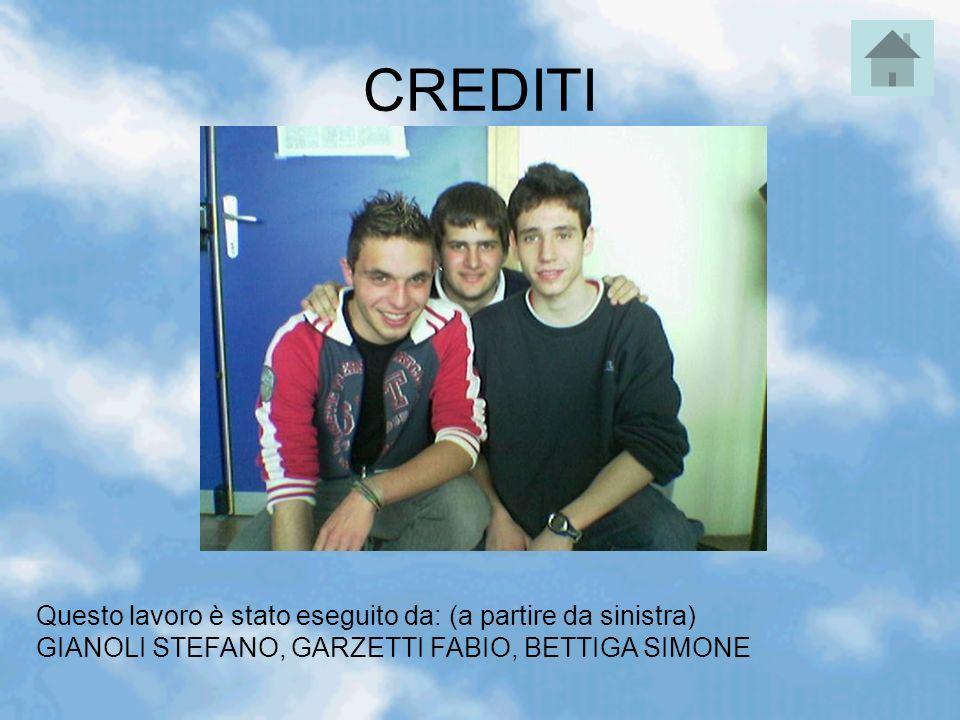 CREDITI Questo lavoro è stato eseguito da: (a partire da sinistra) GIANOLI STEFANO, GARZETTI FABIO, BETTIGA SIMONE