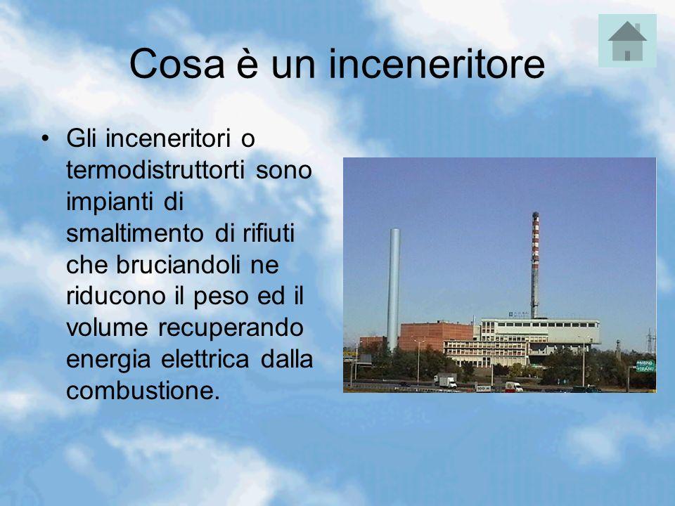 Cosa è un inceneritore Gli inceneritori o termodistruttorti sono impianti di smaltimento di rifiuti che bruciandoli ne riducono il peso ed il volume r