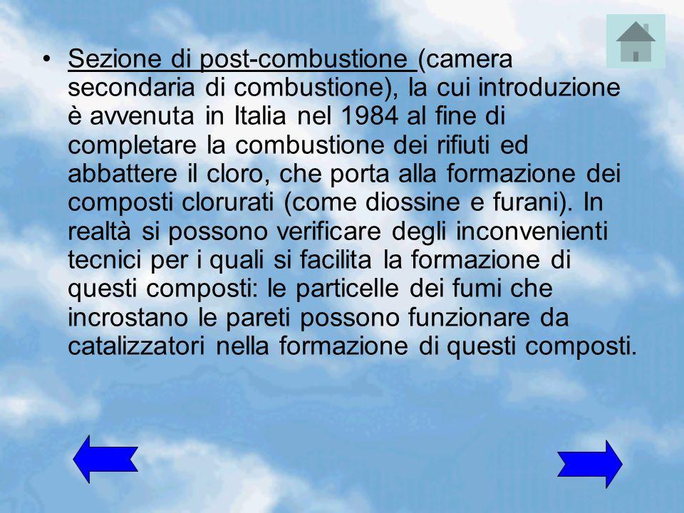 Sezione di post-combustione (camera secondaria di combustione), la cui introduzione è avvenuta in Italia nel 1984 al fine di completare la combustione