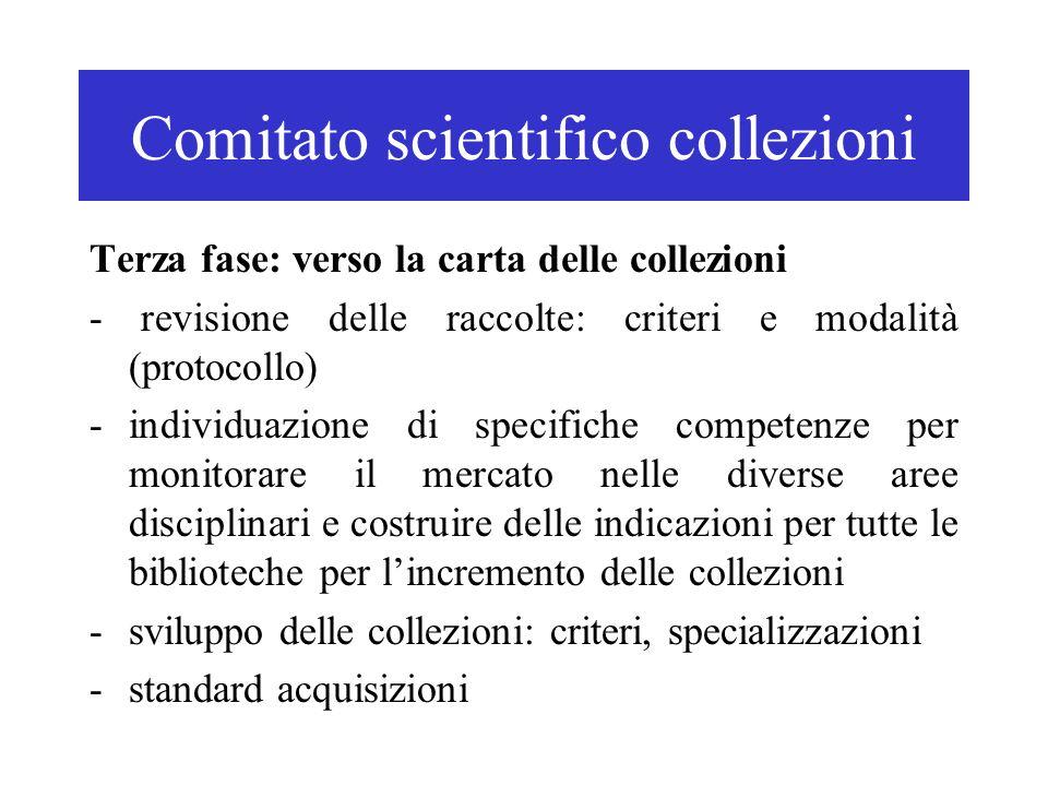 Comitato scientifico collezioni Terza fase: verso la carta delle collezioni - revisione delle raccolte: criteri e modalità (protocollo) -individuazion