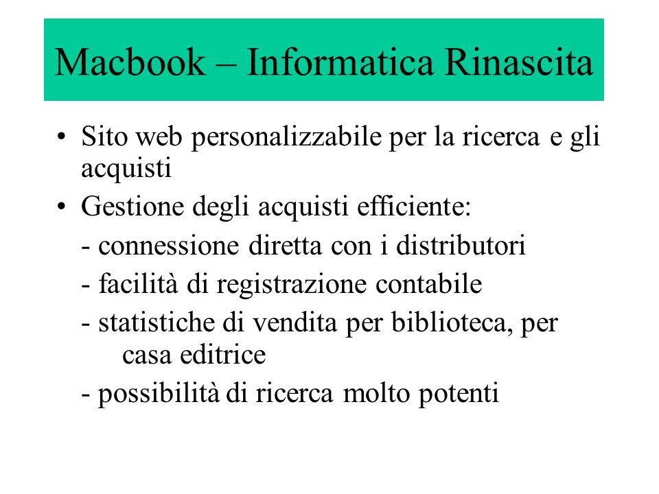 Macbook – Informatica Rinascita Sito web personalizzabile per la ricerca e gli acquisti Gestione degli acquisti efficiente: - connessione diretta con