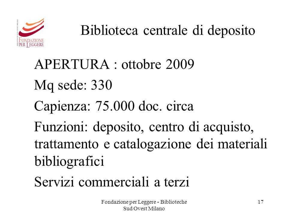 Fondazione per Leggere - Biblioteche Sud Ovest Milano 17 Biblioteca centrale di deposito APERTURA : ottobre 2009 Mq sede: 330 Capienza: 75.000 doc. ci
