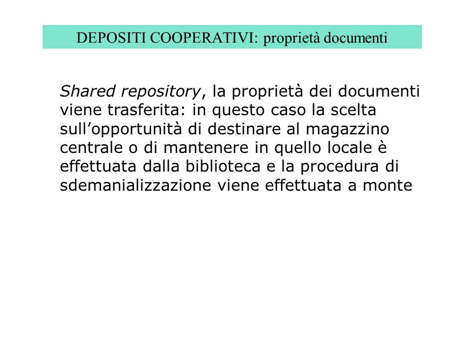DEPOSITI COOPERATIVI: proprietà documenti Shared repository, la proprietà dei documenti viene trasferita: in questo caso la scelta sullopportunità di