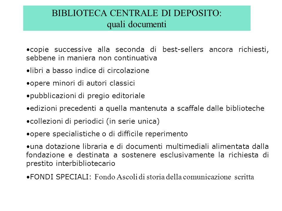 BIBLIOTECA CENTRALE DI DEPOSITO: quali documenti copie successive alla seconda di best-sellers ancora richiesti, sebbene in maniera non continuativa l