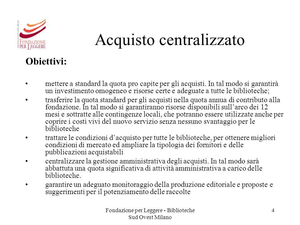 Fondazione per Leggere - Biblioteche Sud Ovest Milano 4 Acquisto centralizzato Obiettivi: mettere a standard la quota pro capite per gli acquisti. In
