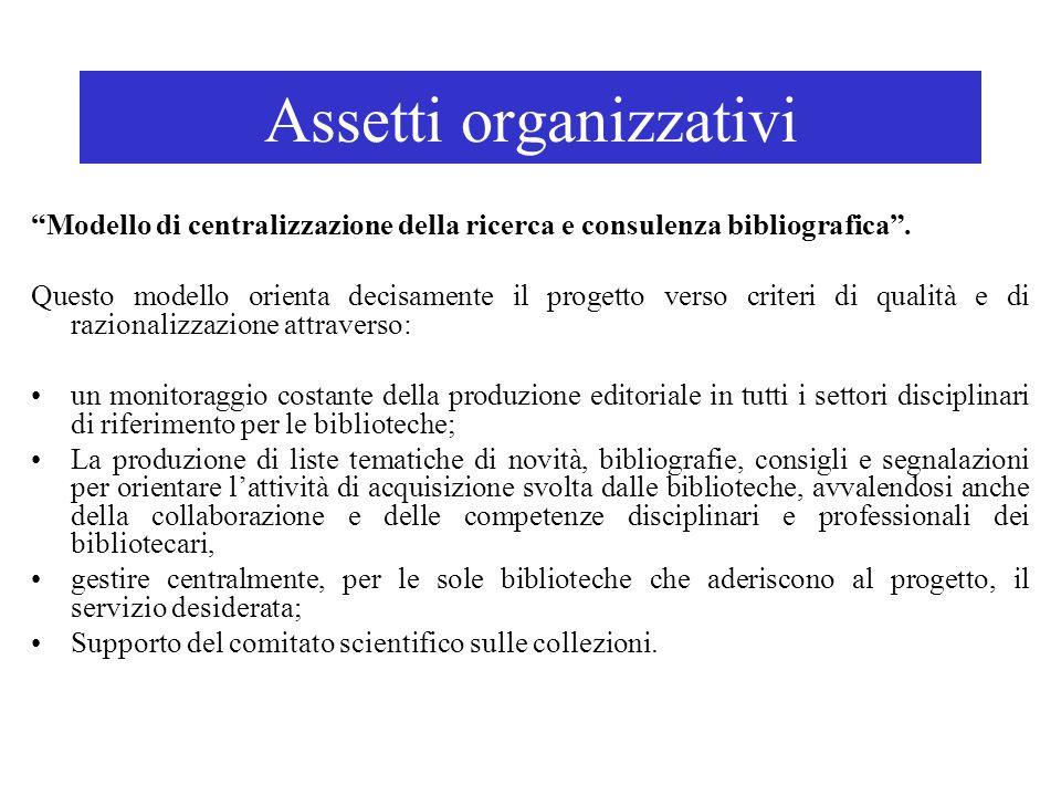 Assetti organizzativi Modello di centralizzazione della ricerca e consulenza bibliografica. Questo modello orienta decisamente il progetto verso crite