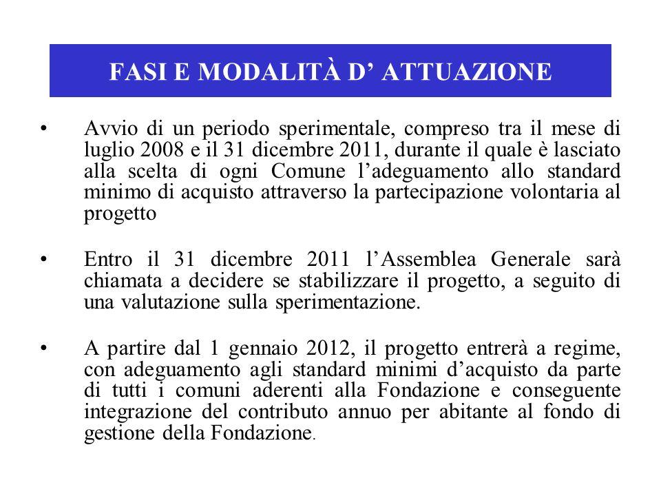 FASI E MODALITÀ D ATTUAZIONE Avvio di un periodo sperimentale, compreso tra il mese di luglio 2008 e il 31 dicembre 2011, durante il quale è lasciato
