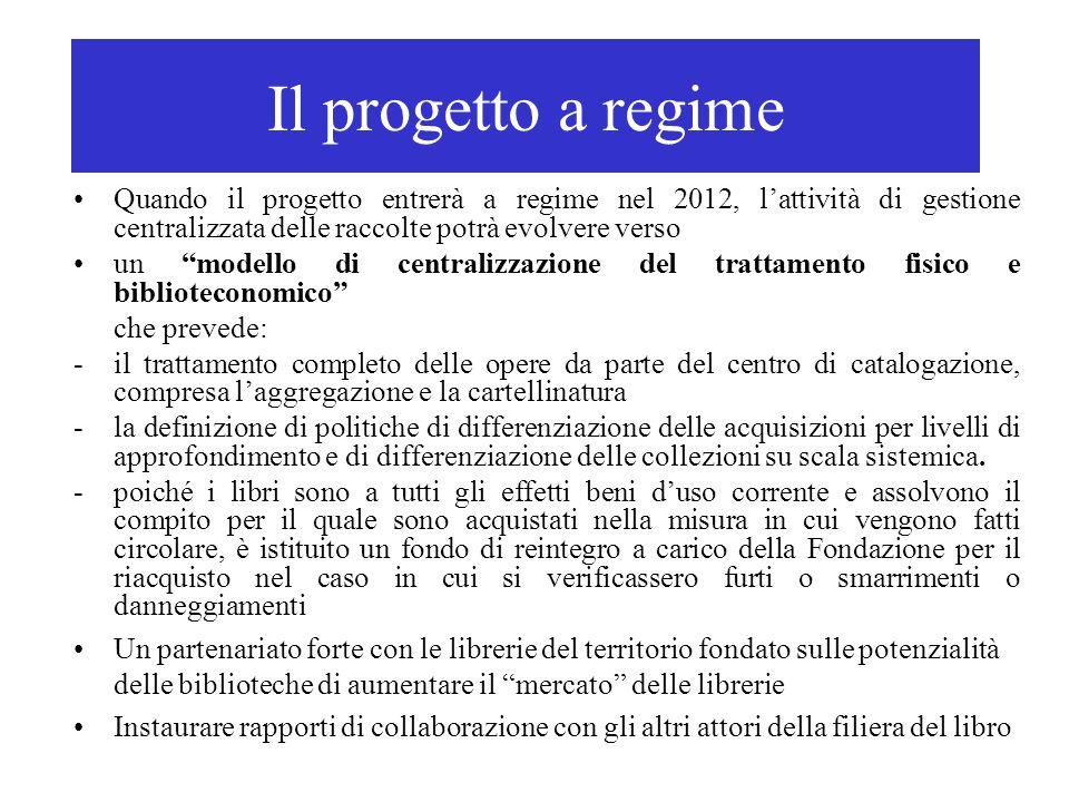 Il progetto a regime Quando il progetto entrerà a regime nel 2012, lattività di gestione centralizzata delle raccolte potrà evolvere verso un modello