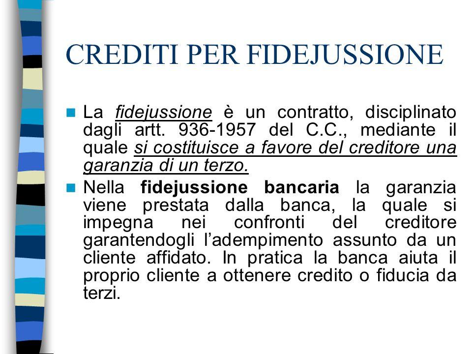 CREDITI PER FIDEJUSSIONE La fidejussione è un contratto, disciplinato dagli artt. 936-1957 del C.C., mediante il quale si costituisce a favore del cre