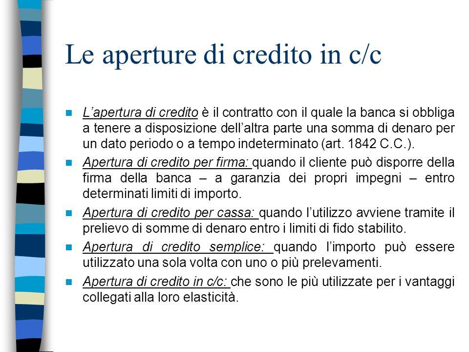 Le aperture di credito in c/c Lapertura di credito è il contratto con il quale la banca si obbliga a tenere a disposizione dellaltra parte una somma d