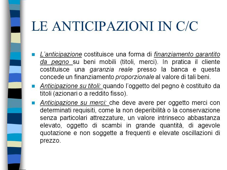 LE ANTICIPAZIONI IN C/C Lanticipazione costituisce una forma di finanziamento garantito da pegno su beni mobili (titoli, merci). In pratica il cliente