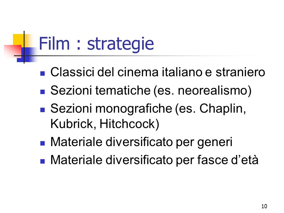 10 Film : strategie Classici del cinema italiano e straniero Sezioni tematiche (es. neorealismo) Sezioni monografiche (es. Chaplin, Kubrick, Hitchcock