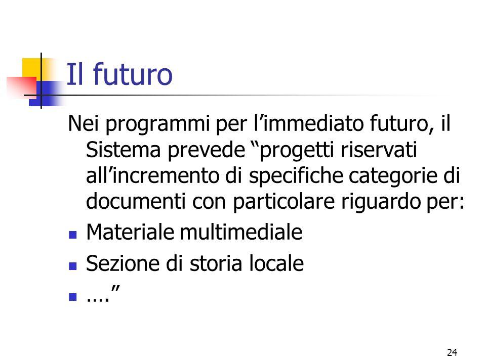 24 Il futuro Nei programmi per limmediato futuro, il Sistema prevede progetti riservati allincremento di specifiche categorie di documenti con particolare riguardo per: Materiale multimediale Sezione di storia locale ….