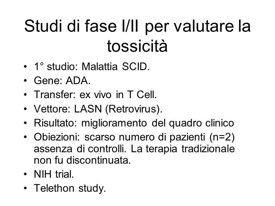 Studi di fase I/II per valutare la tossicità 1° studio: Malattia SCID. Gene: ADA. Transfer: ex vivo in T Cell. Vettore: LASN (Retrovirus). Risultato: