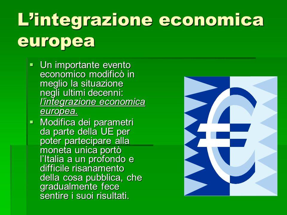 Lintegrazione economica europea Un importante evento economico modificò in meglio la situazione negli ultimi decenni: lintegrazione economica europea.