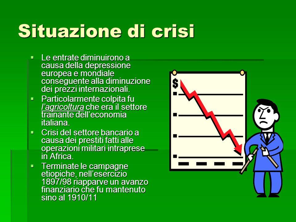 Situazione di crisi Le entrate diminuirono a causa della depressione europea e mondiale conseguente alla diminuzione dei prezzi internazionali. Le ent