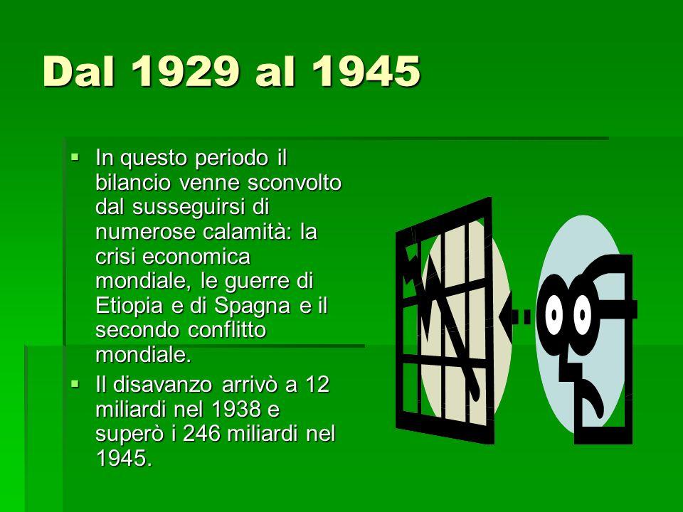 La ricostruzione Le esigenze della ricostruzione del paese, provocarono un ulteriore aumento del disavanzo che raggiunse il livello più alto nel 1947/48 con 851 miliardi.