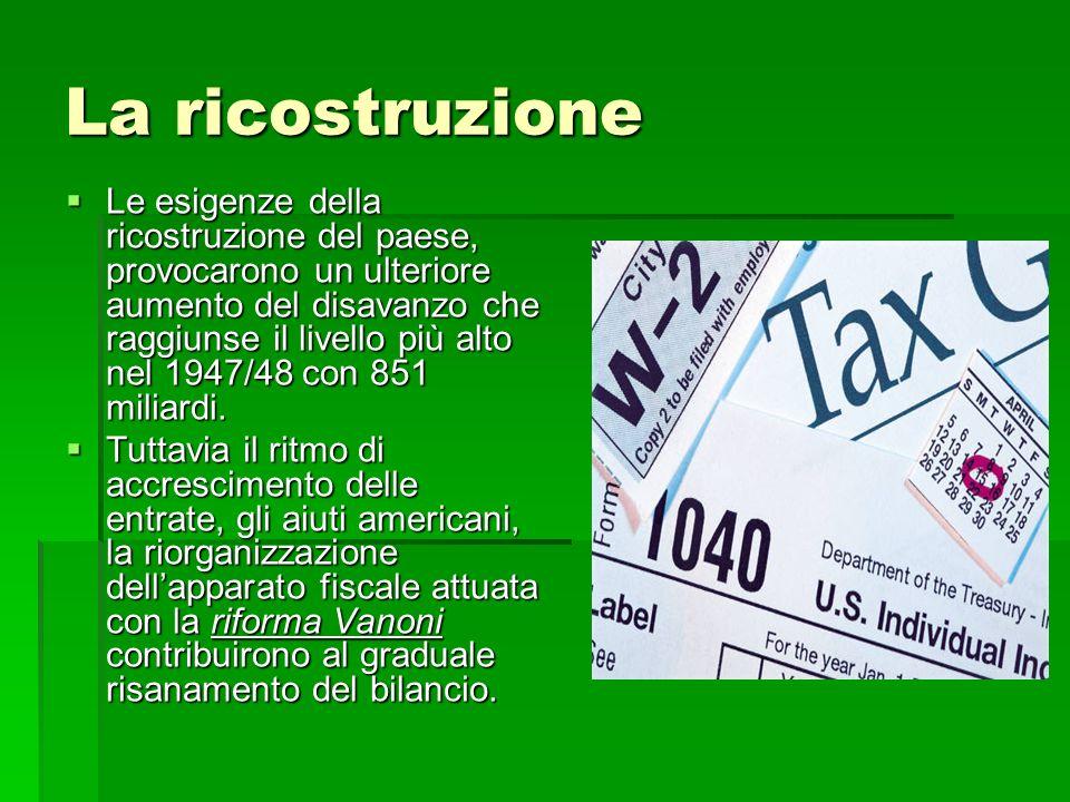 La ricostruzione Le esigenze della ricostruzione del paese, provocarono un ulteriore aumento del disavanzo che raggiunse il livello più alto nel 1947/
