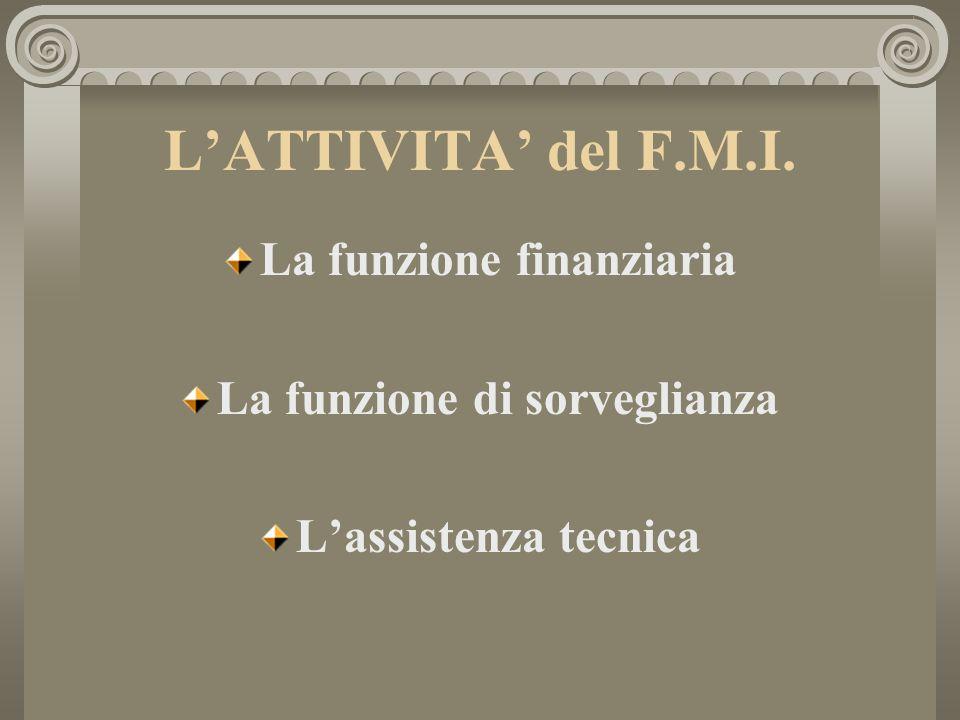 LATTIVITA del F.M.I. La funzione finanziaria La funzione di sorveglianza Lassistenza tecnica