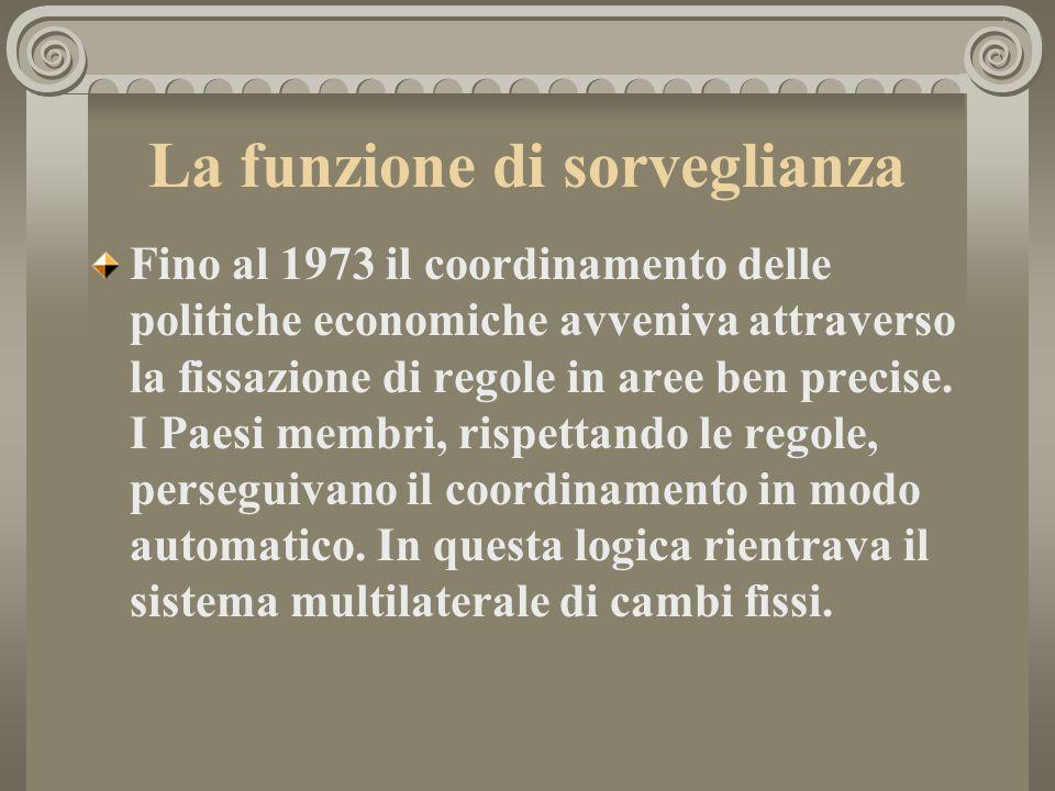 La funzione di sorveglianza Fino al 1973 il coordinamento delle politiche economiche avveniva attraverso la fissazione di regole in aree ben precise.