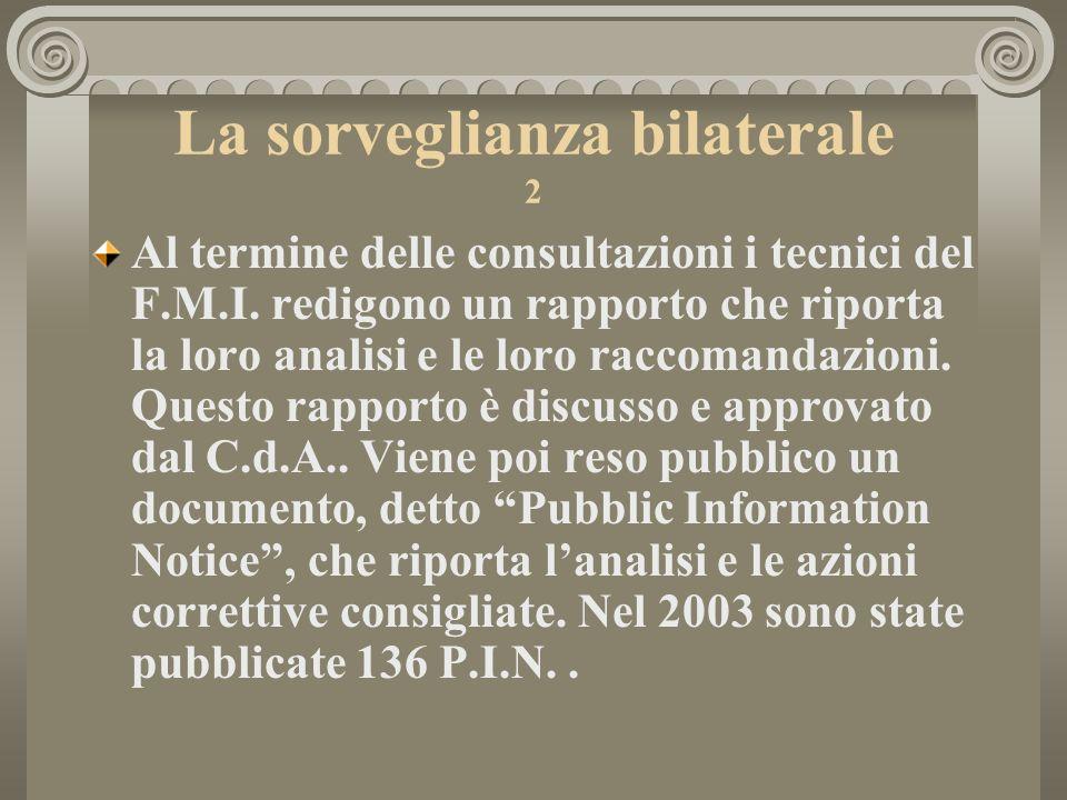 La sorveglianza bilaterale 2 Al termine delle consultazioni i tecnici del F.M.I.