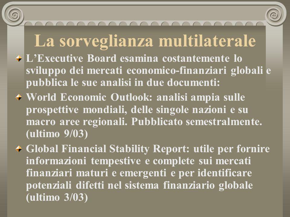 La sorveglianza multilaterale LExecutive Board esamina costantemente lo sviluppo dei mercati economico-finanziari globali e pubblica le sue analisi in due documenti: World Economic Outlook: analisi ampia sulle prospettive mondiali, delle singole nazioni e su macro aree regionali.