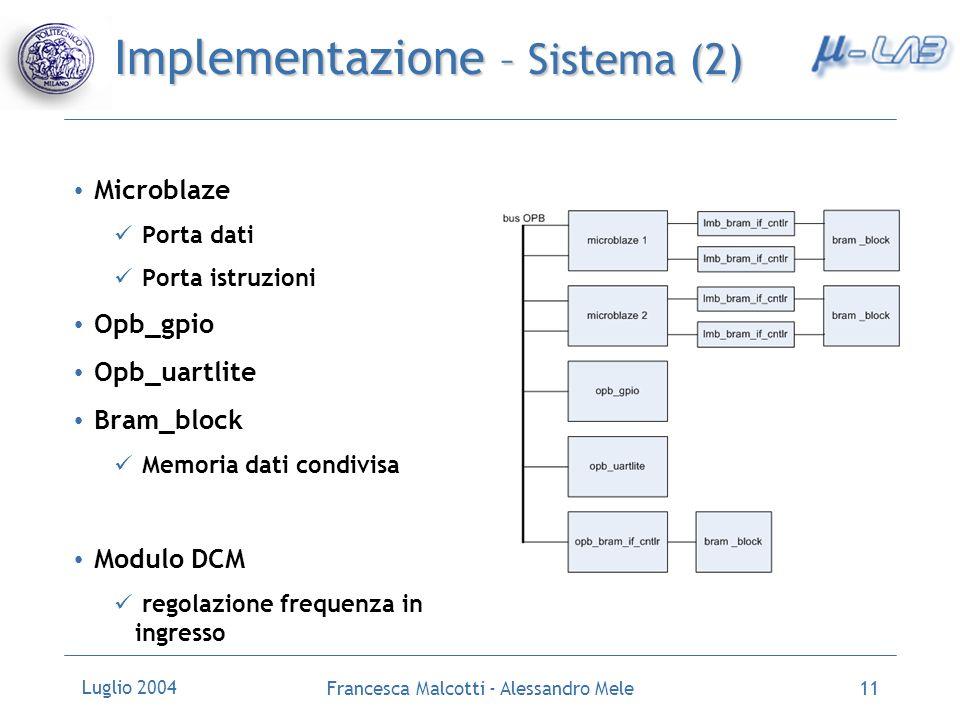 Luglio 2004 Francesca Malcotti - Alessandro Mele11 Implementazione – Sistema (2) Microblaze Porta dati Porta istruzioni Opb_gpio Opb_uartlite Bram_blo