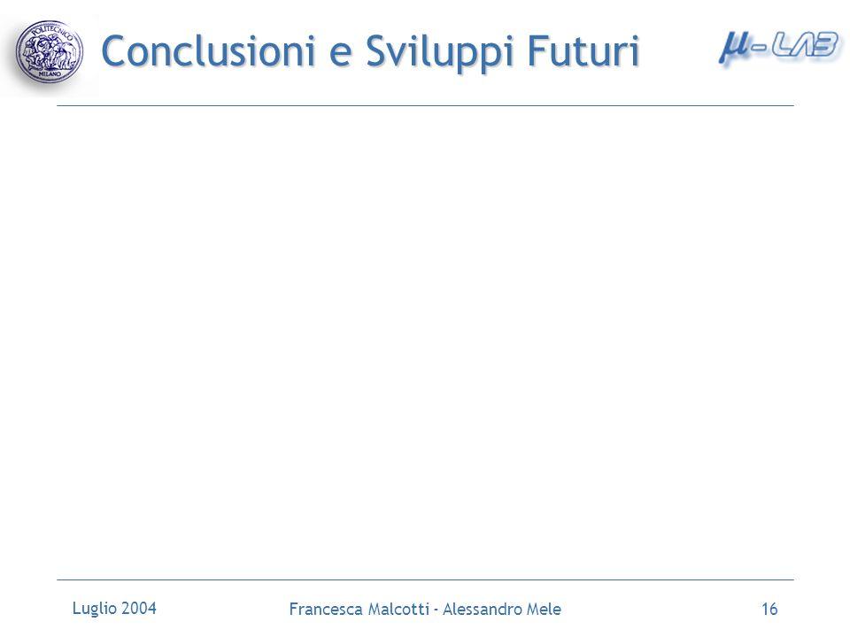 Luglio 2004 Francesca Malcotti - Alessandro Mele16 Conclusioni e Sviluppi Futuri