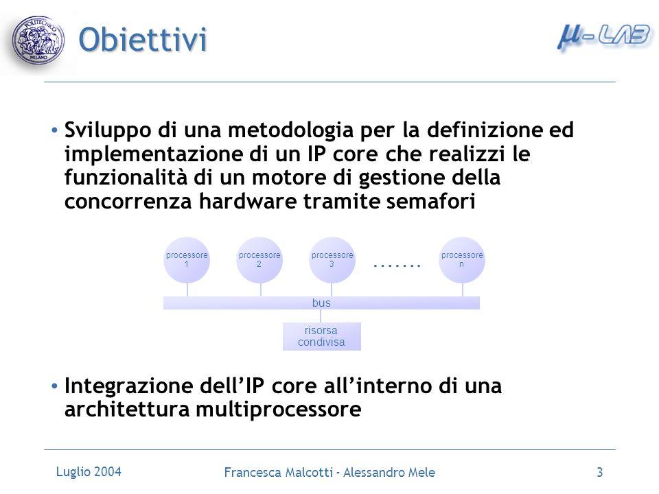 Luglio 2004 Francesca Malcotti - Alessandro Mele3 Sviluppo di una metodologia per la definizione ed implementazione di un IP core che realizzi le funz