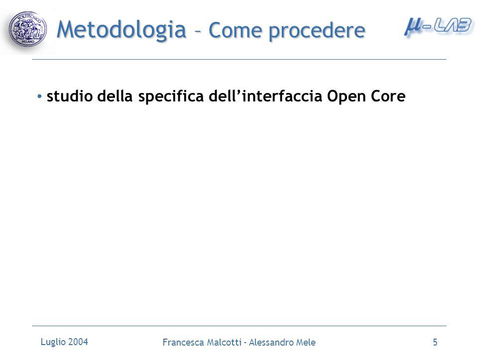 Luglio 2004 Francesca Malcotti - Alessandro Mele6 Metodologia – Risorsa Condivisa Risorsa condivisa: Memoria dati semplificazione di un sistema multiprocessore a memoria centralizzata Garantire la mutua esclusione processore 1 processore 2 processore 3 processore n …….