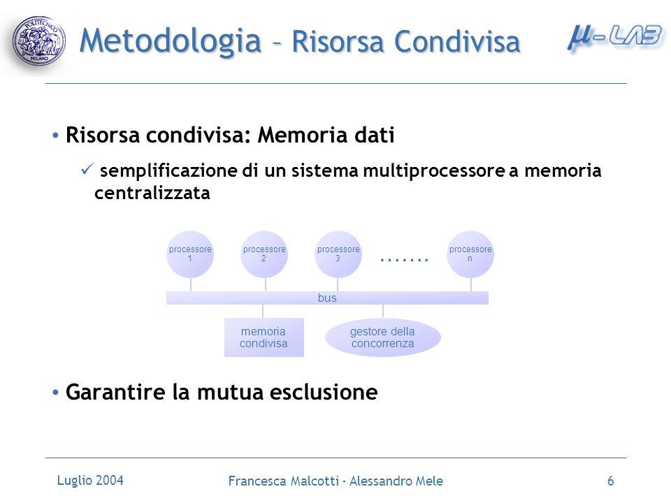 Luglio 2004 Francesca Malcotti - Alessandro Mele7 Metodologia - Interrupt Meccanismo fondamentale per la gestione della concorrenza in una architettura multiprocessore processore richiede risorsa risorsa disponibile .