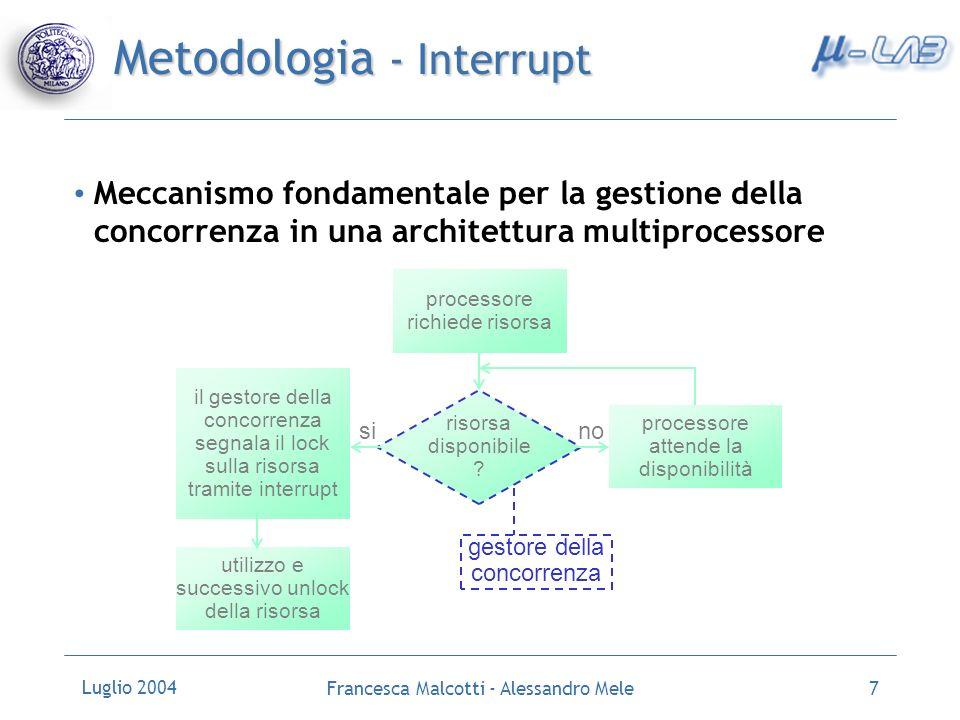 Luglio 2004 Francesca Malcotti - Alessandro Mele8 Metodologia – Device Driver Elemento fondamentale per la gestione dellIP core lato software Interfaccia la descrizione hardware (VHDL) del componente con lapplicazione che lo utilizza Applicazione utente Device Driver IP Core (hardware)