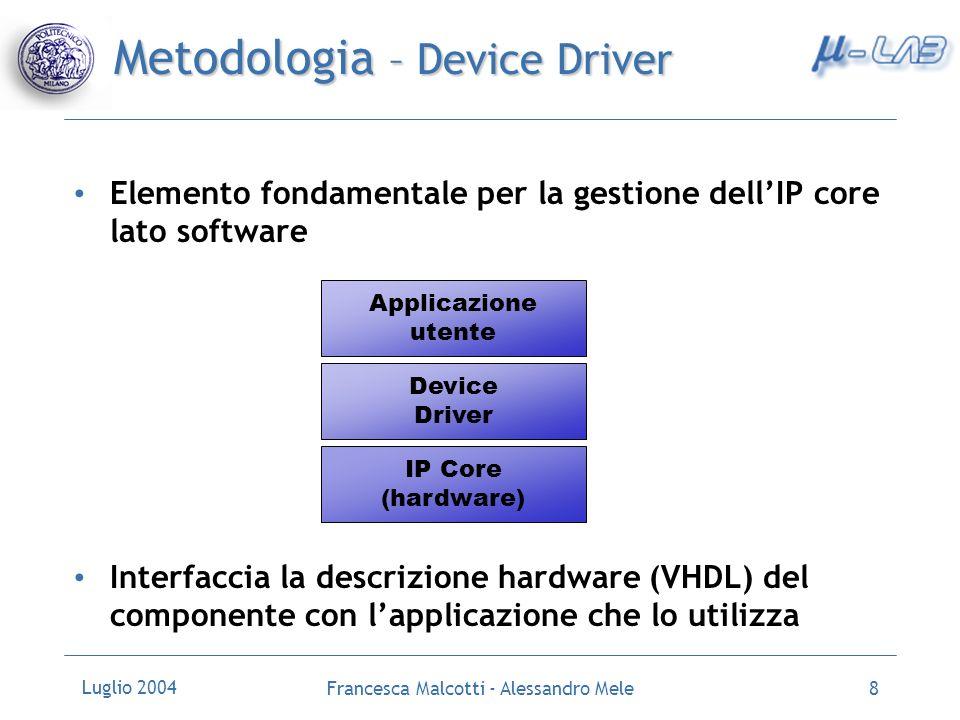 Luglio 2004 Francesca Malcotti - Alessandro Mele9 Implementazione - Tools Sviluppo e supporto ad alto livello per la progettazione di sistemi dedicati Embedded Developement Kit, EDK (versione 6.2i) Supporto per la simulazione comportamentale di un componente data la sua specifica in un linguaggio di descrizione dellhardware Modelsim XE II (versione 5.7c)