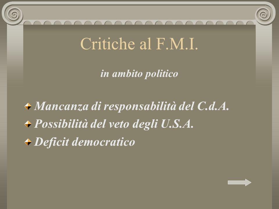 Critiche al F.M.I. in ambito politico Mancanza di responsabilità del C.d.A. Possibilità del veto degli U.S.A. Deficit democratico