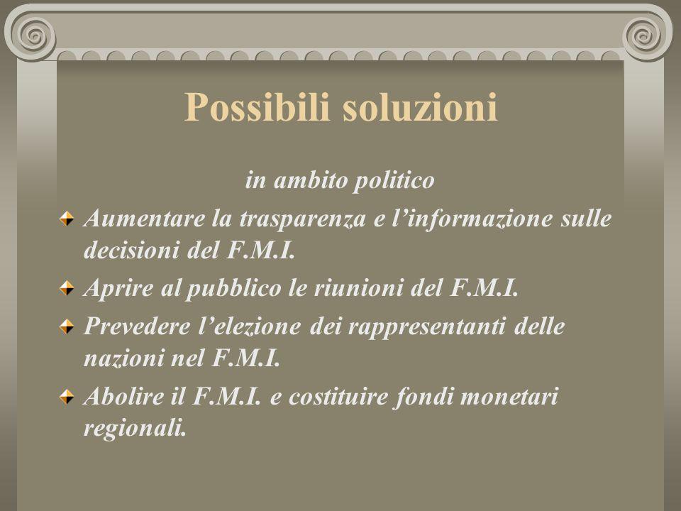 Possibili soluzioni in ambito politico Aumentare la trasparenza e linformazione sulle decisioni del F.M.I. Aprire al pubblico le riunioni del F.M.I. P