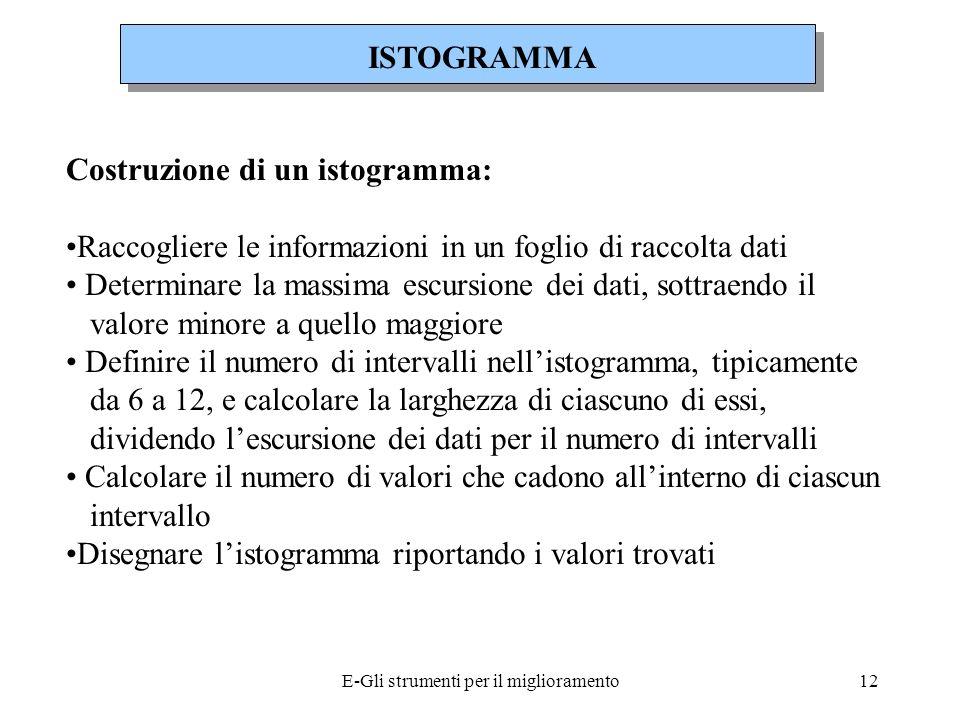 E-Gli strumenti per il miglioramento13 Raccogliere le informazioni in un foglio di raccolta dati ISTOGRAMMA