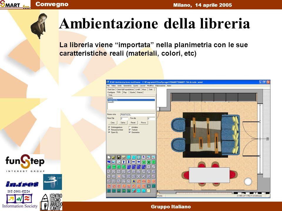 Convegno Milano, 14 aprile 2005 Gruppo Italiano IST-2001-52224 Ambientazione della libreria La libreria viene importata nella planimetria con le sue caratteristiche reali (materiali, colori, etc)