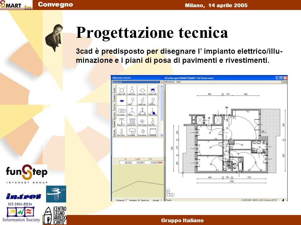 Convegno Milano, 14 aprile 2005 Gruppo Italiano IST-2001-52224 Progettazione tecnica 3cad è predisposto per disegnare l impianto elettrico/illu- minazione e i piani di posa di pavimenti e rivestimenti.