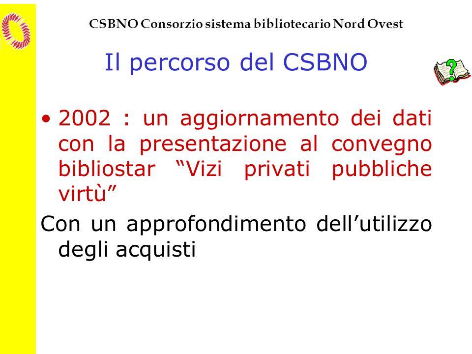 CSBNO Consorzio sistema bibliotecario Nord Ovest Il percorso del CSBNO 2002 : un aggiornamento dei dati con la presentazione al convegno bibliostar Vi