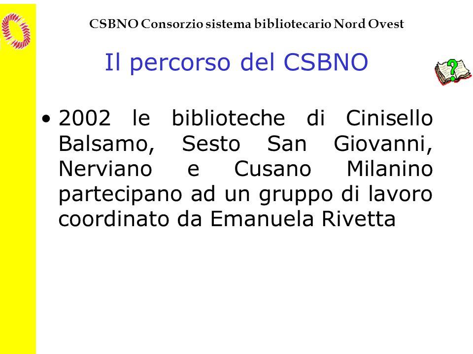 CSBNO Consorzio sistema bibliotecario Nord Ovest Il percorso del CSBNO 2002 le biblioteche di Cinisello Balsamo, Sesto San Giovanni, Nerviano e Cusano