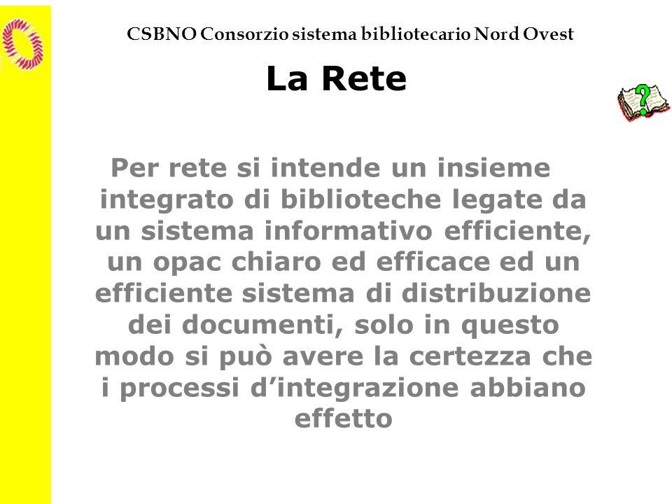CSBNO Consorzio sistema bibliotecario Nord Ovest La Rete Per rete si intende un insieme integrato di biblioteche legate da un sistema informativo effi
