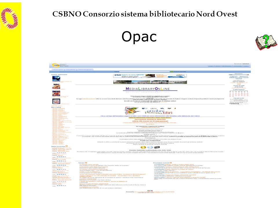 CSBNO Consorzio sistema bibliotecario Nord Ovest Opac