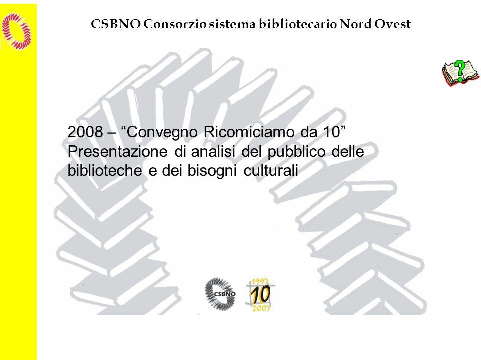 CSBNO Consorzio sistema bibliotecario Nord Ovest 2008 – Convegno Ricomiciamo da 10 Presentazione di analisi del pubblico delle biblioteche e dei bisog